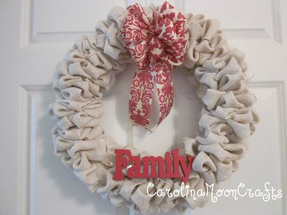 Burlap Wreath - Family Wreath - Fall Wreath
