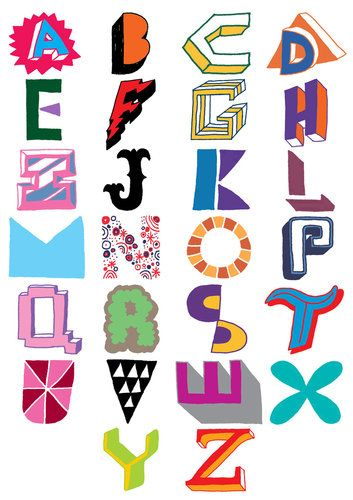 Emily Gregory's Little Book of Lettering compiles some of the most interesting graphic artists working today, including Bath, U.K.-based Andrew Joyce, who hand-drew these letters as part of a larger exploration of the letters of the alphabet. Most of the color combinations, the designer says, were inspired by NBA team logos.
