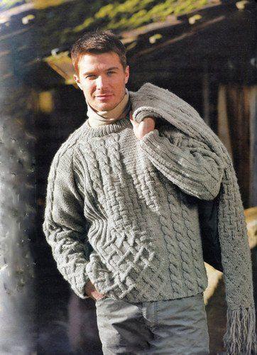 Men's Hand Knitted Crewneck Sweater 19B