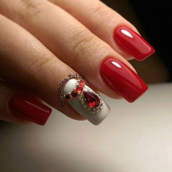 Evening dress nails, Evening nails by gel polish, Red and white nails, Red gel…