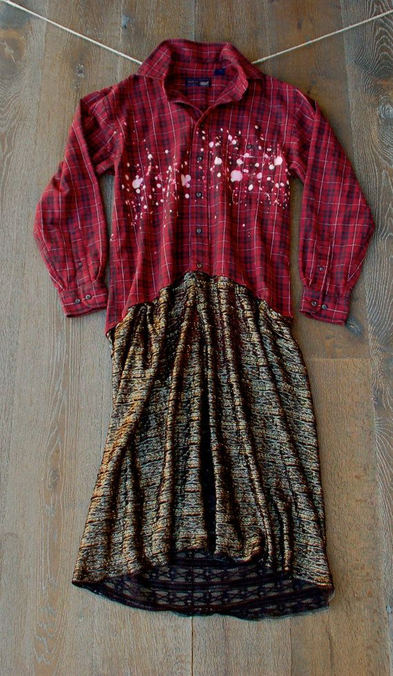 Coachella flannel lace jacket dress duster romantic shabby for Country girl flannel shirts