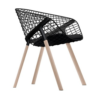 | CHAIRS | WOOD & BLACK ACCENTS Patrick Norguet Kobi Wood Chair  Stunning wood base detail with mesh metal back. Super comfortable with a bucket seat while visually less bulky with the web frame.  Available | Italinteriors, Vancouver Price Range | $850.00 CAD  #italinteriors, #PatrickNorguet   As seen in Homes & Living magazine, HLmagazine.com