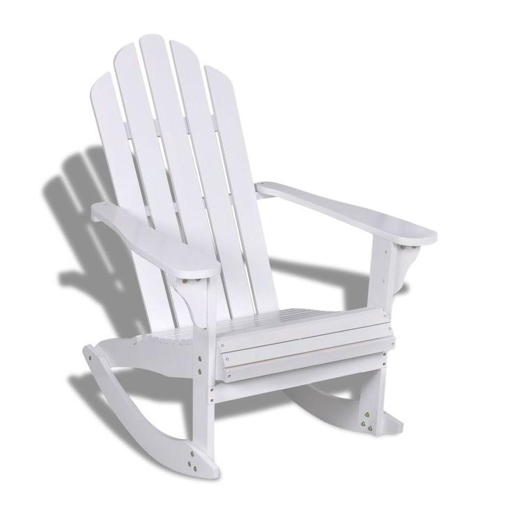 Schaukelstuhl Relaxstuhl Stuhl Hartholz Sessel Gartenmöbel Gartenstuhl weiß