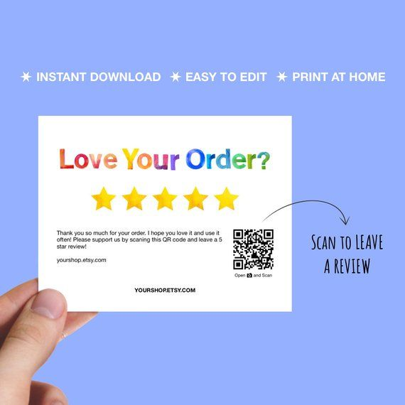 Review Cards 5 Star Review Reminder Cards Printable Packaging Insert Love Your Order Business Thank You Cards Business Thank You Thank You Printable