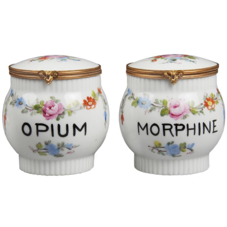 Set of Limoge Opium and Morphine porcelain jars with hand painted floral motif c.1920