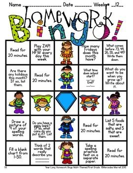 YEAR-LONG HOMEWORK BINGO MULTI-THEMED FIRST GRADE - TeachersPayTeachers.com