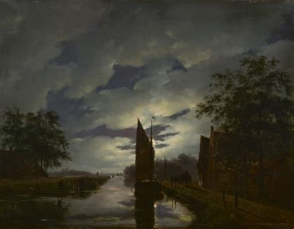 Andreas 'Andries' Schelfhout Den Haag 1787-1870 A moonlit river landscape, oil on panel. Collection Simonis & Buunk, The Netherlands.
