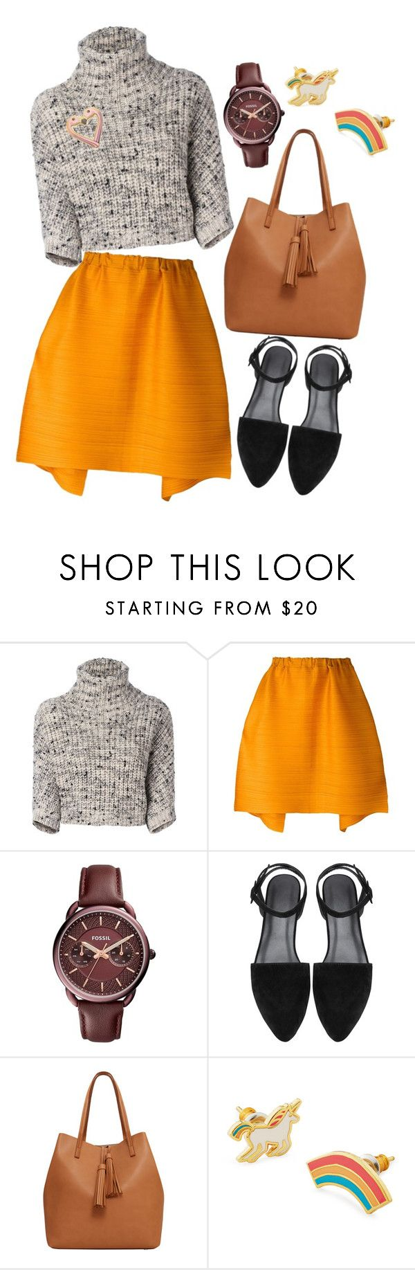 """""""Untitled #302"""" by racita on Polyvore featuring Brunello Cucinelli, Pleats Please by Issey Miyake, FOSSIL, MANGO and Yellow Owl Workshop"""