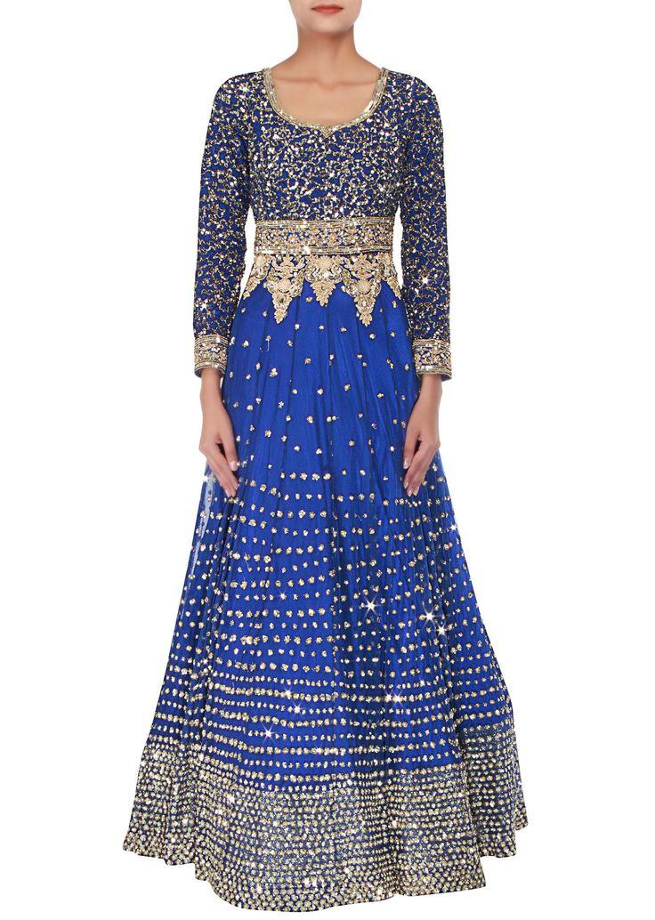 Royal blue anarkali embellished in sequins and thread embroidery only on Kalki