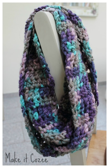 Chunky scarf made with Bernat Softee Chunky yarn in Shadow Ombre