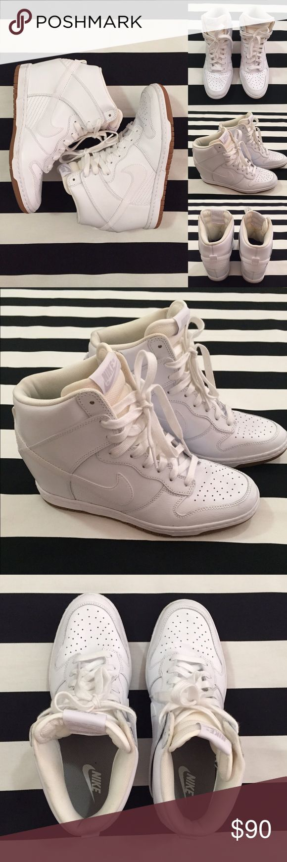 [Nike] Dunk Sky Hi women's wedge sneakers sz9.5 [Nike] Dunk Sky Hi women's wedge sneakers sz9.5 •listing •great condition, worn once •white leather with ivory/off white interior •wedge sneaker •interior has some slight color changes, w30 written on bottom of shoe, small scuff on heel of left shoe, otherwise great condition •Offers welcomed using offer button or Bundle for best discount Nike Shoes Athletic Shoes