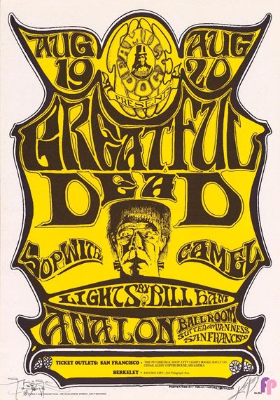 GRATEFUL DEAD (MISSPELLED AS GREATFUL) BY STANLEY MOUSE AND ALTON KELLEY