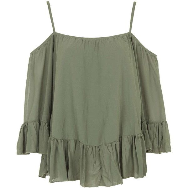 **Crinkle Bardot Top by Wal G ($39) ❤ liked on Polyvore featuring tops, shirts, crop tops, khaki, cut out shoulder top, boho crop top, open shoulder top, shirts & tops and polyester shirt