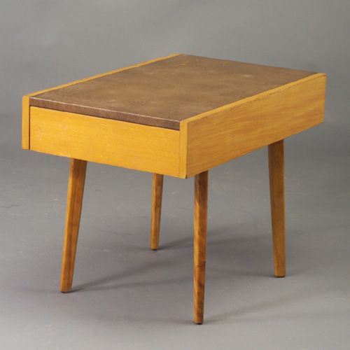 George Nelson; Wood and Leather Side Table for Herman Miller, 1950s.