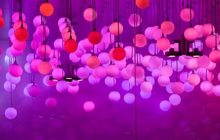 700 glass spheres containing LED lights hang from the ceiling, constantly changing  colour. | *sparkle* | Pinterest | Studios,