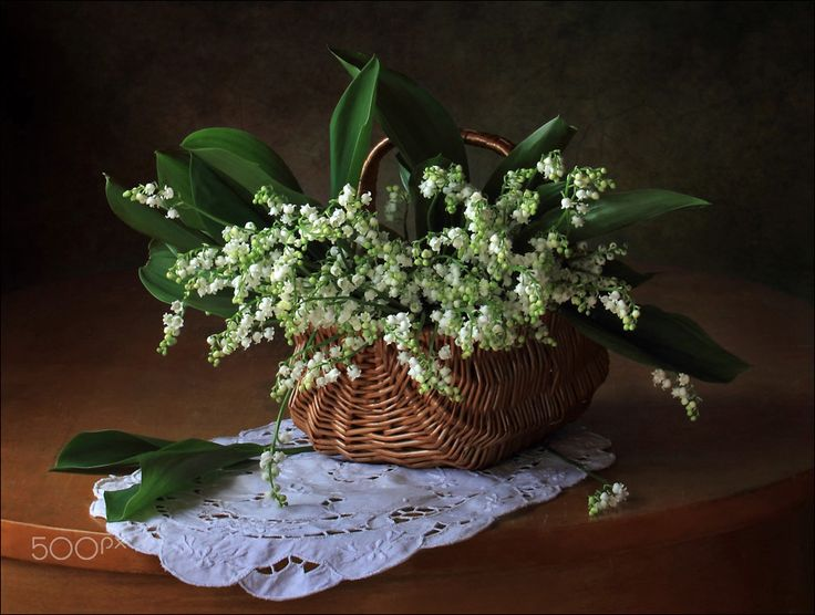With a basket of lilies of the valley - null