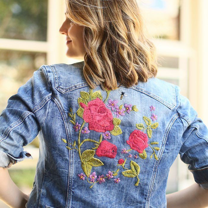 The embroidered jean jacket in action! See how I styles it in today's new outfit post on whatiworeblog.com
