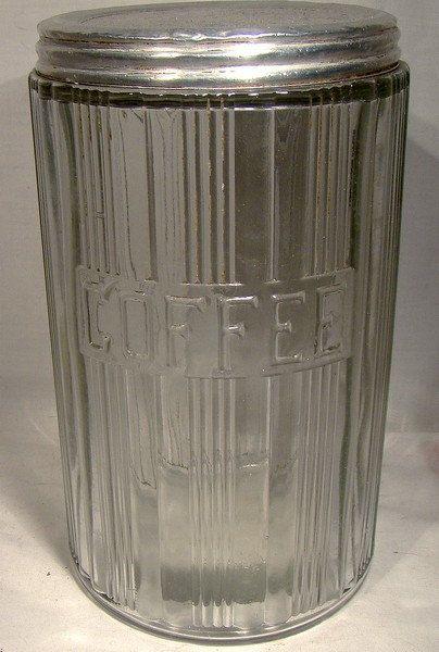 Hoosier Glass Coffee Kitchen Storage Jar 1920s 1930s