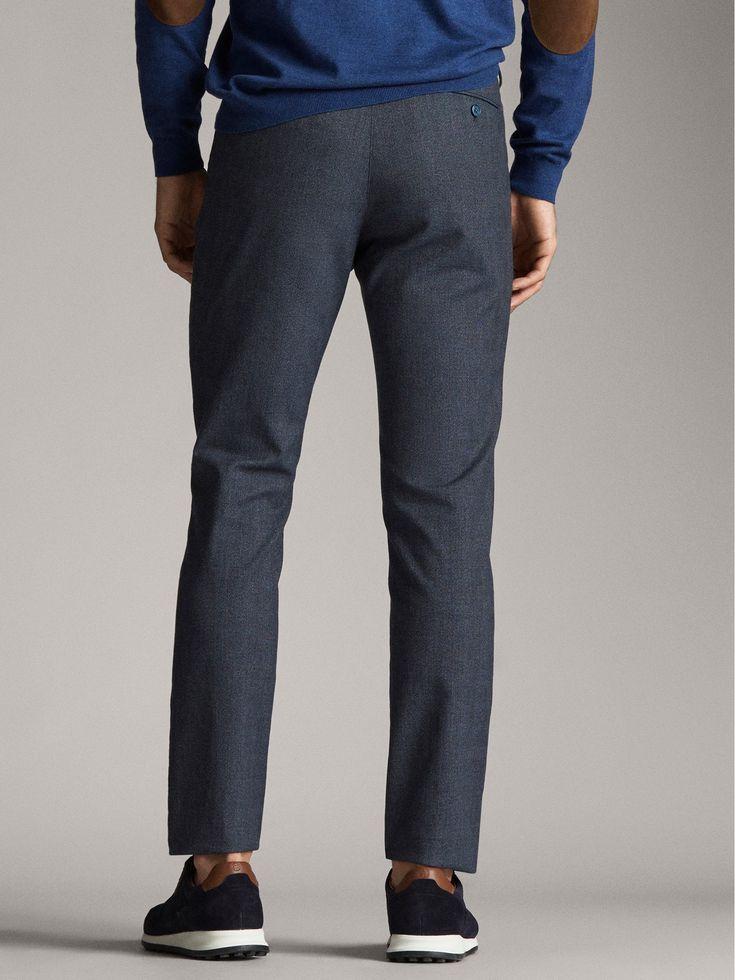 Massimo Dutti – Men – Slim fit false plain check chino trousers – Navy blue – 44