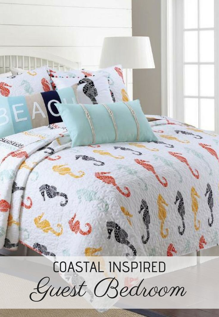 Fun Seahorse Themed Bedding Set Red Yellow Teal And Navy