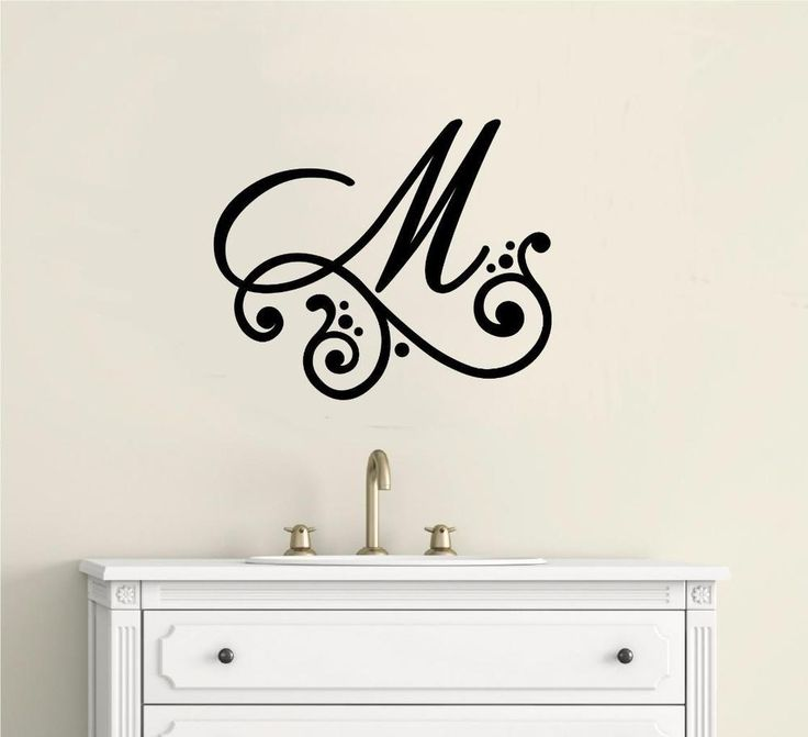 Charmant Monogram Letter Vinyl Decal Wall Sticker Lettering Shower Door Mirror Decal  Part 78