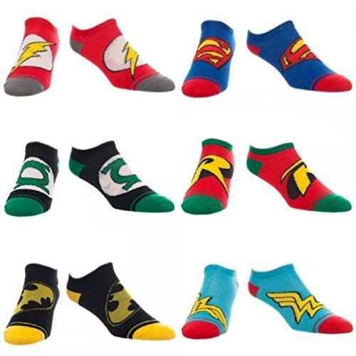DC Comics Logo Adult No Show Ankle Sock 6 Pair- Batman, Green Lantern, Wonder Women, Robin, Flash, Superman Logo – Sock Size: 9-11 – Shoe Size: 5-10.