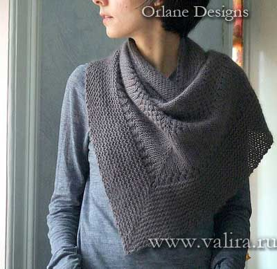 Простая теплая шаль, связанная спицами. Осень 2015