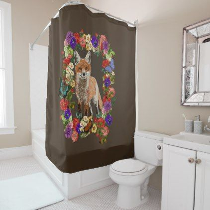Victorian Floral Fox & Butterfly Shower Curtain - shower curtains home decor custom idea personalize bathroom