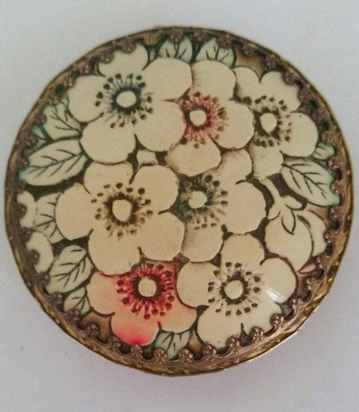 Vintage Art Nouveau Made in Austria Compact with Hand Carved & Painted Bakelite!  | eBay