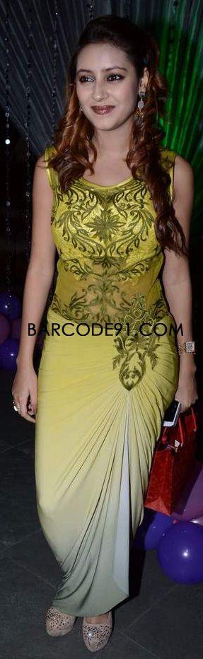http://www.barcode91.com/ Pratyusha Banerji in a green attire for her Birthday bash.
