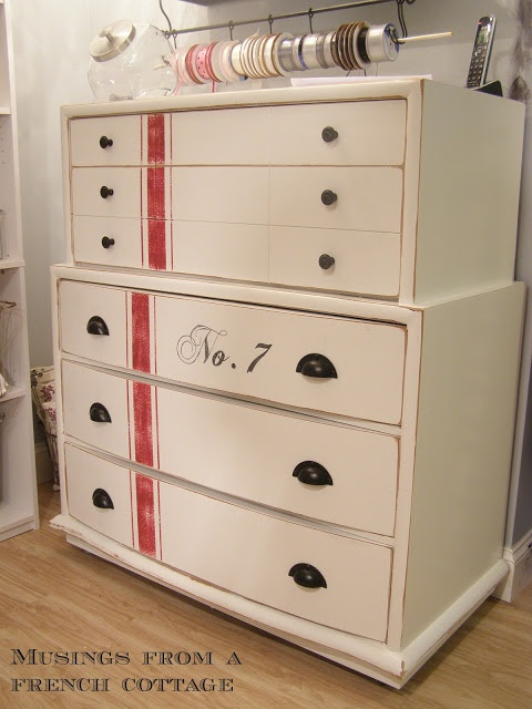 Musings From A French Cottage: Grain Sack Inspired Dresser Makeover in love!!!