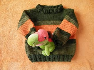 Araxni - knitting as an obsession! - Μανία για τα πλεκτά, τις βελόνες και τα ευρηματικά σχέδια!: Rosa's orange-green pullover -Παιδικό μπλουζάκι