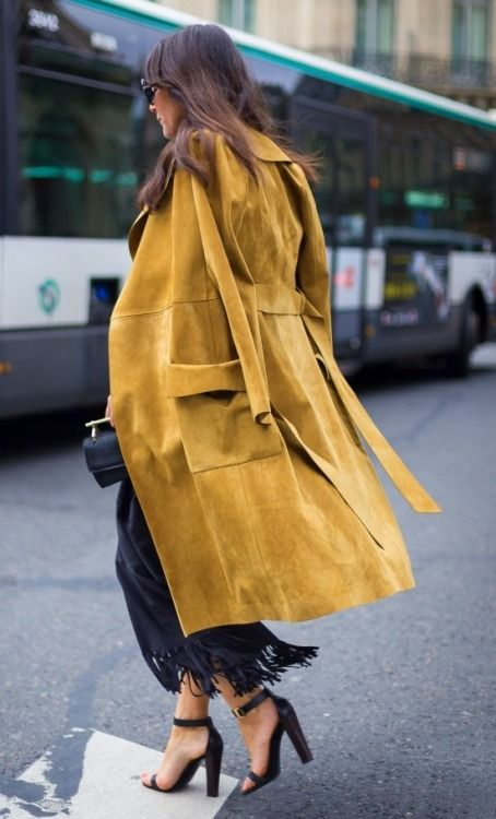 Mustard suede is perfect for fall and practical for cold weather dressing.