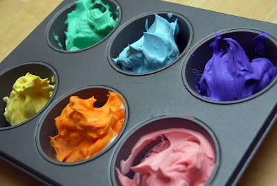 shaving cream bath paint. Mix shaving cream and food color then finger paint or use large craft brushes! quick, easy and clean fun!