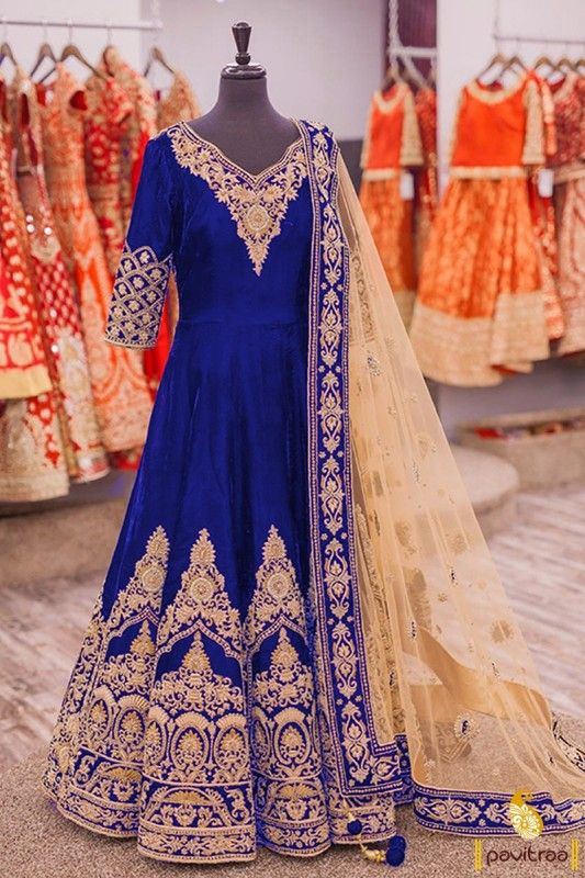 Semi stitched blue bridal anarkali suit. Add grace and charm to your appearance ...