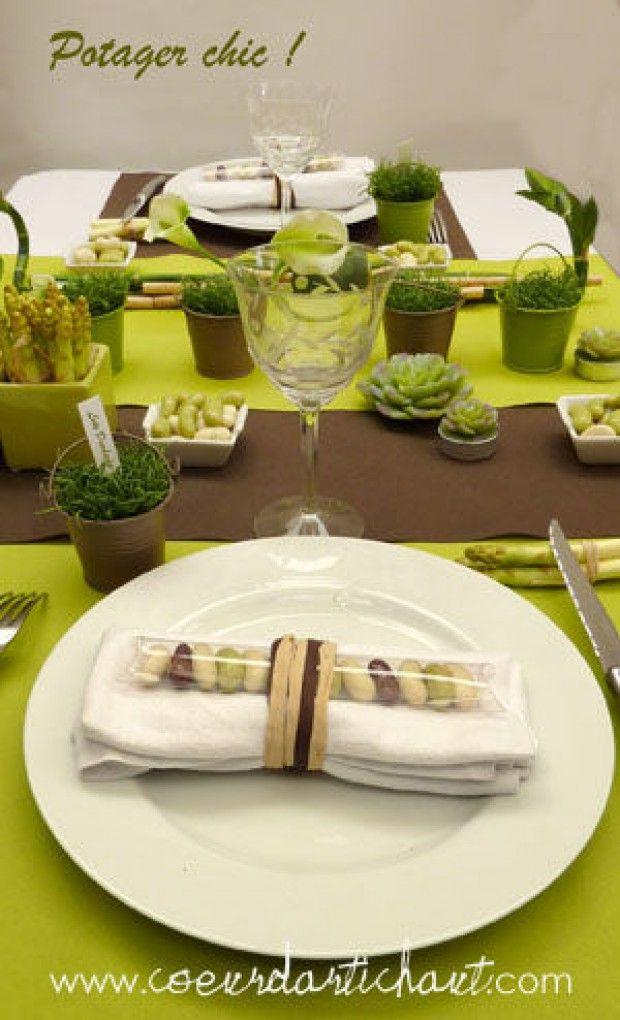 decoration de table vert et chocolat theme potager chic