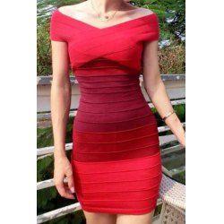 Trendy Style Off-The-Shoulder Color Block Bodycon Women's Bandage Dress