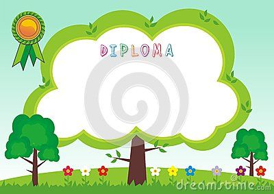 Kid Diploma - Blank Flat leaf with flower and colorful design