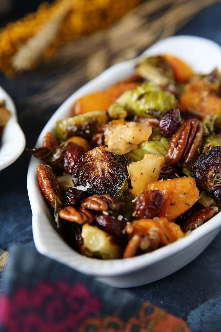 Thanksgiving Maple Roasted Brussels Sprouts & Butternut Squash