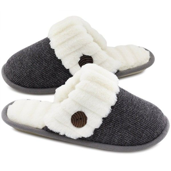 Womens Slip On Cosy Faux Fur Lined Knitted Mules Backless Closed Toe Slippers