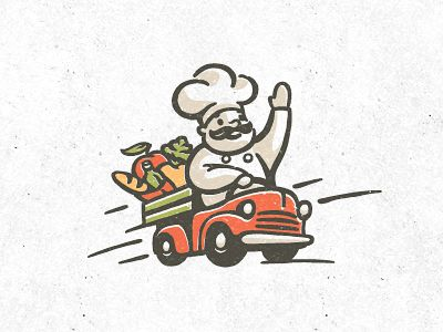 amazing chef illustration! its like a cheerful pringles chef with his vegetable cruiser.