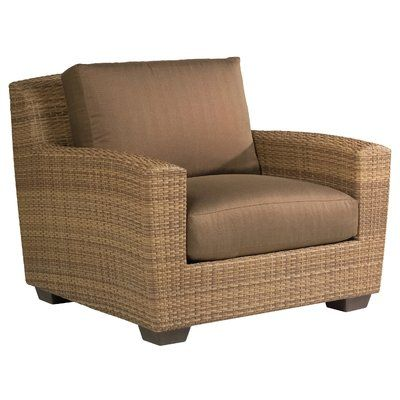 Woodard Saddleback Patio Chair with Cushions Fabric: Sunbrella Beachball Bluestone