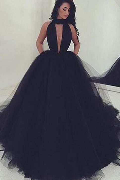 Unqiue design black tulle long prom dress, ball gown