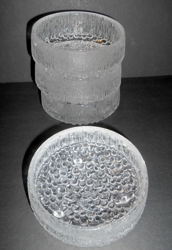 "4 MCM  IITTALA Finland Ultima Thule Ice Glass 4"" Dessert Bowls by Tapio Wirkkala"