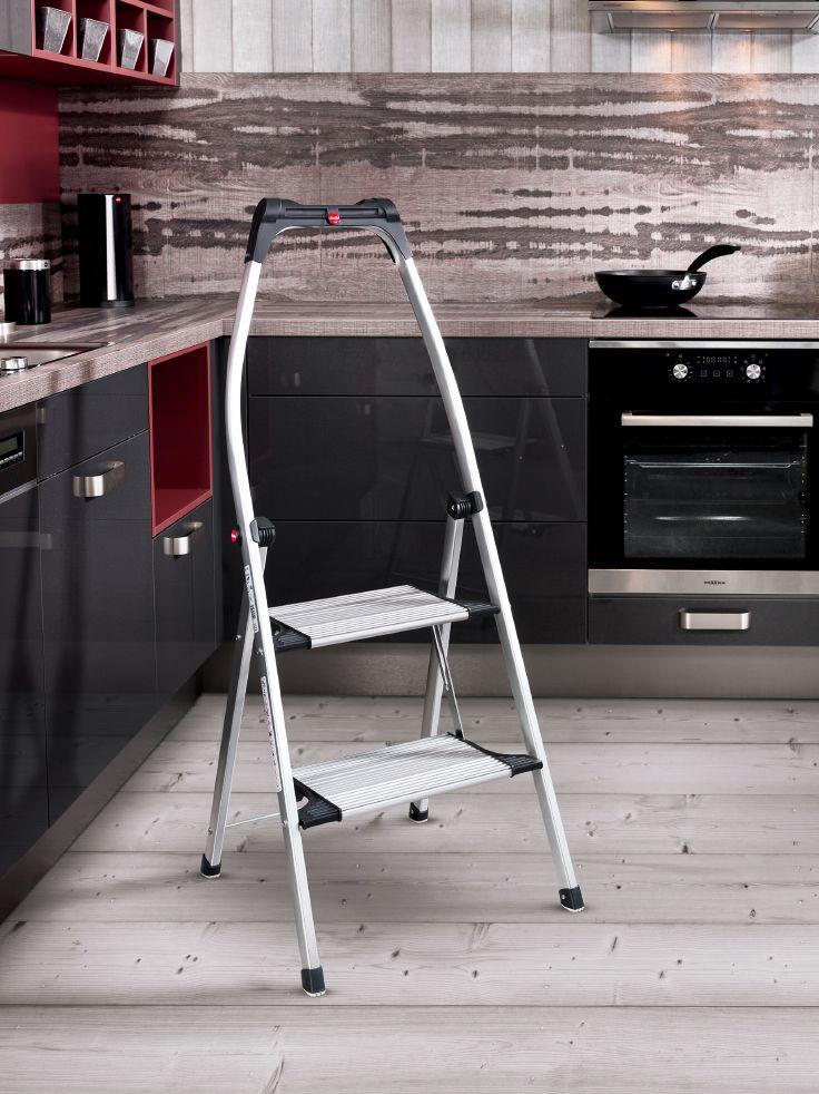 Hailo LivingStep Comfort Plus - Der Komfort-Klapptritt aus Aluminium mit Soft-Grip-Sohle für optimalen Stand auf verschiedenen Böden.