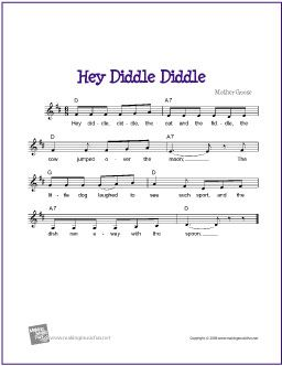 Hey Diddle Diddle by Mother Goose | Free sheet Music for Guitar - http://www.makingmusicfun.net/htm/f_printit_free_printable_sheet_music/hey-diddle-diddle-lead-sheet.htm