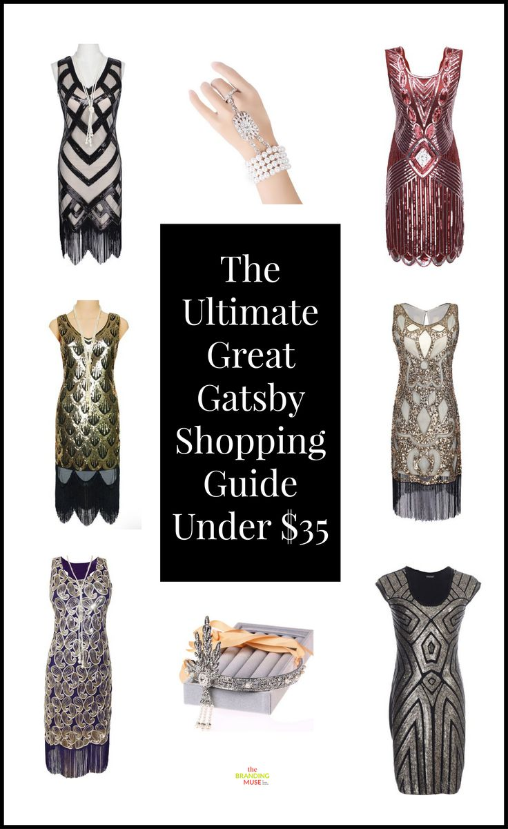 Great Gatsby dresses, accessories and headpieces all under $35. These ideas are also perfect for the roaring 20s or any flapper era kinds of events and costumes.