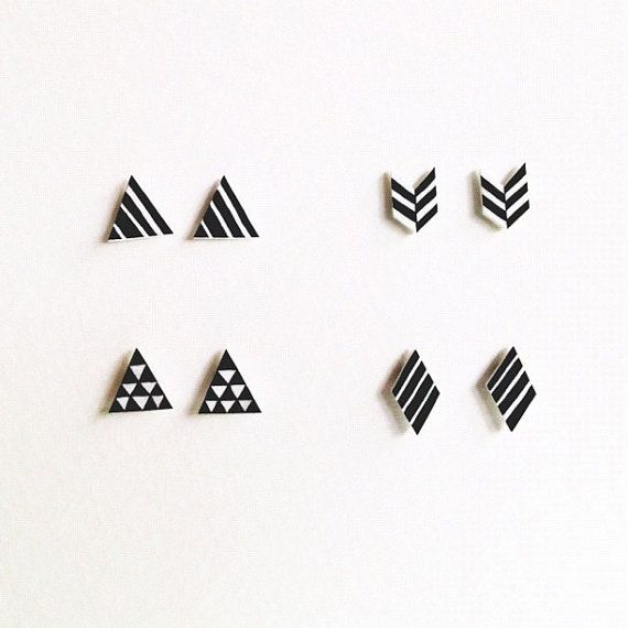 Hand Drawn Black and White Herringbone Chevron Post Earrings Studs