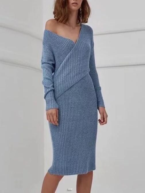 eb3295394c43bc V-neck Knit Jumper Midi Dress GRAY M #Quality workwear #party dresses  #casual outfits