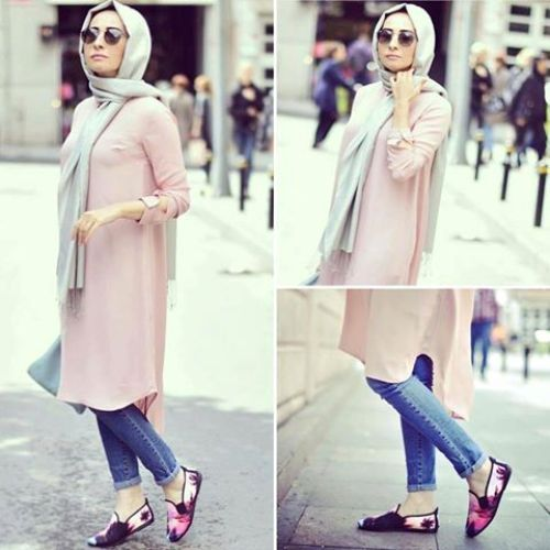 pastel long tunic casual hijab- Hijab fashion magazine http://www.justtrendygirls.com/hijab-fashion-magazine/
